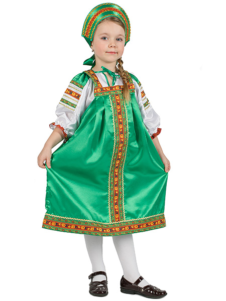 Русский народный костюм, детский зеленый атласный комплект Василиса: сарафан и блузка, 7-12 летДетский костюм для девочки, возраст 7,8,9,10,11,12 лет.<br>Ткань - атлас. Цвет - зеленый.<br>