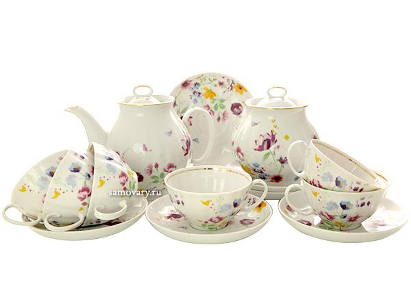 Дулевский чайный сервиз форма Белый Лебедь рисунок Акварелька 6/14Сервиз из фарфора.<br>6 персон.<br>