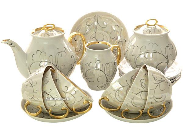 Дулевский чайный сервиз форма Белый Лебедь рисунок Морозко 6/15Сервиз из фарфора.<br>6 персон.<br>