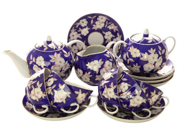 Дулевский чайный сервиз форма Тюльпан рисунок Яблоневый цвет 6/15Сервиз из фарфора.&#13;<br>6 персон.<br>