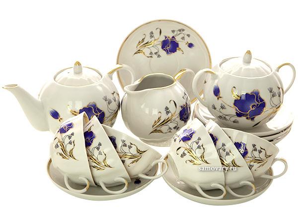 Дулевский чайный сервиз форма Тюльпан рисунок Синий мак 6/15Сервиз из фарфора.&#13;<br>6 персон.<br>