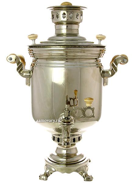 Угольный самовар 5 литров цилиндр никелированный, арт. 220510Тульский латунный самовар классической формы гладкий с никелированным покрытием.&#13;<br>Труба для отвода дыма в комплекте.<br>