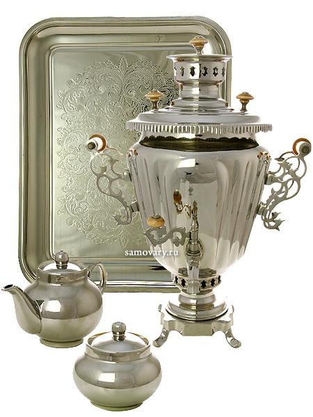Набор с угольным самоваром 5 литров никелированный конус, Серебряная фантазия, арт. 220735Подарочный комплект: угольный самовар, металлический поднос, чайник и сахарница с напылением под серебро.<br>Труба для отвода дыма в комплекте.<br>