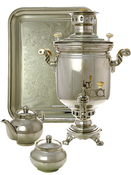 Набор с угольным самоваром 5 литров никелированный цилиндр, арт. 220733Подарочный комплект: угольный самовар, металлический поднос, чайник и сахарница с напылением под серебро.<br>Труба для отвода дыма в комплекте.<br>