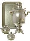 Набор с угольным самоваром 5 литров никелированный цилиндр, арт. 220733Подарочный комплект: угольный самовар, металлический поднос, чайник и сахарница с напылением под серебро.&#13;<br>Труба для отвода дыма в комплекте.<br>