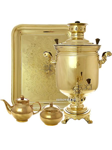 Набор с угольным самоваром 7 литров желтый цилиндр, арт. 220725Подарочный комплект:  угольный самовар, металлический поднос, чайник и сахарница с напылением под золото.<br>Труба для отвода дыма в комплекте....<br>