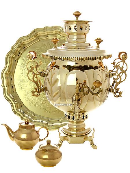Набор самовар угольный (жаровый, дровяной) 4,5 литра желтый шар, арт. 210510Подарочный комплект:  угольный самовар, металлический поднос, чайник и сахарница с напылением под золото.<br>Труба для отвода дыма в комплекте.<br>