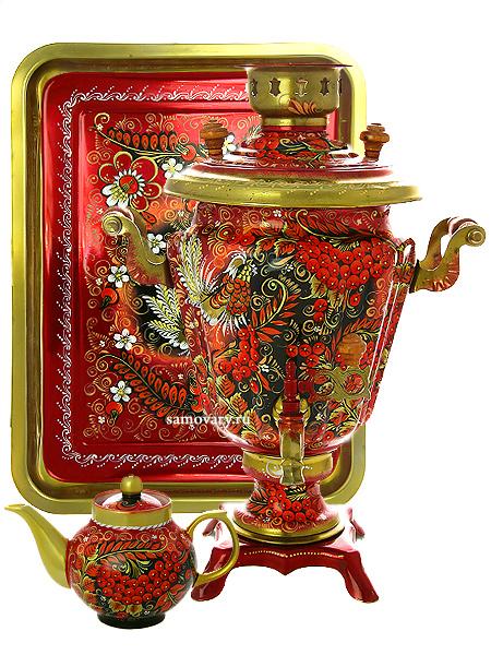 Набор самовар электрический 3 литра с художественной росписью Хохлома на красном фоне мелкая, арт. 121032Комплект из трех предметов:латунный самовар, металлический поднос и заварочный чайник.<br>