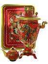 Набор самовар электрический 3 литра с художественной росписью Хохлома на красном фоне мелкая, арт. 121032Самовары электрические<br>Комплект из трех предметов:латунный самовар, металлический поднос и заварочный чайник.<br>