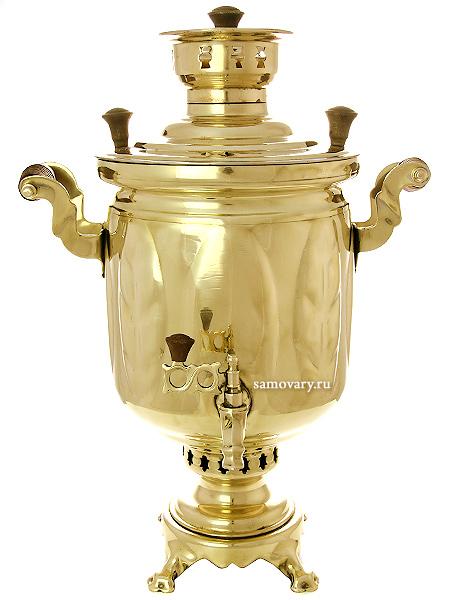 """Угольный самовар 5 литров желтый """"цилиндр"""" """"Листья"""", арт. 220538 с трубой Тульские самовары"""