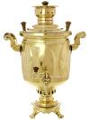 """Угольный самовар 5 литров желтый \""""цилиндр\"""" \""""Листья\"""", арт. 220538 с трубой"""