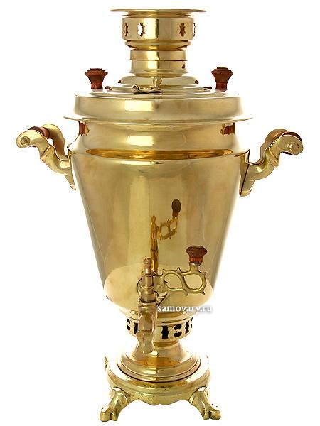 Самовар на дровах 5 литров желтый конус, арт. 220540 + трубаТульский латунный самовар конусовидной формы гладкий.&#13;<br>Труба для отвода дыма в комплекте.<br>
