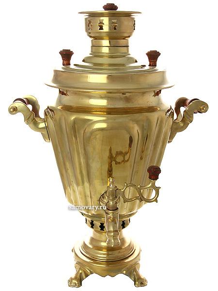 Угольный самовар 5 литров желтый на дровах конус граненый, произведен в середине XX века на Тульском заводе Штамп, арт. 430539Самовар отреставрирован тульскими мастерами и готов к эксплуатации.<br>