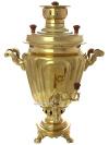 """Угольный самовар 5 литров желтый \""""конус\"""" граненый, арт. 230539 +труба в подарок"""