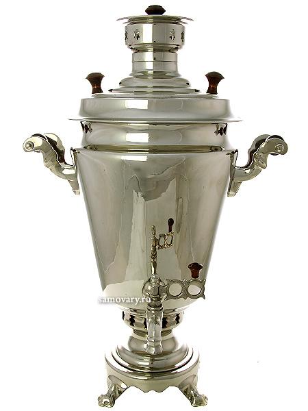 Угольный самовар 7 литров конус никелированный, арт. 220720Тульский латунный самовар конусовидной формы гладкий с никелированным покрытием. &#13;<br>Труба для отвода дыма в комплекте.<br>