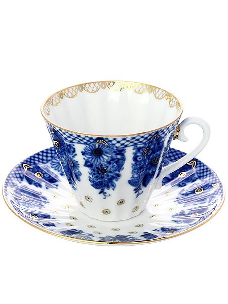 Чашка с блюдцем чайная форма Лучистая, рисунок Корзиночка, Императорский фарфоровый заводФарфоровая чайная пара.&#13;<br>Объем - 235 мл.<br>