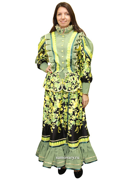 Костюм женский казачий Парочка 2 зеленого цветаКостюм из юбки с блузой.&#13;<br>Материал - габардин.<br>