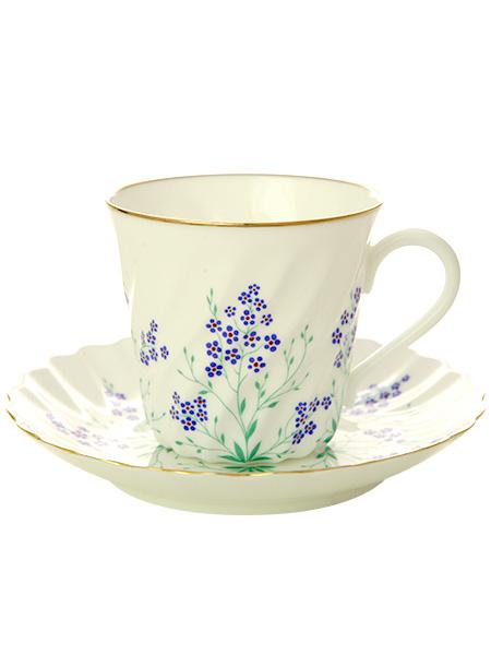 Кофейная чашка с блюдцем форма Витая, рисунок У ручья, Императорский фарфоровый заводФарфоровая кофейная пара.&#13;<br>Объем чашки - 155 мл.<br>