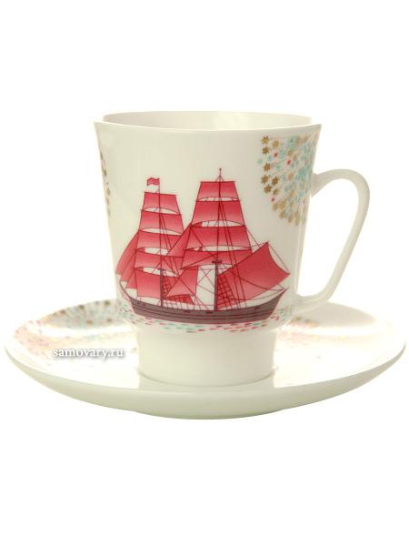 Кофейная чашка с блюдцем форма Майская 1 рисунок Волшебная ночь Императорский фарфоровый заводФарфоровая кофейная пара.&#13;<br>Объем чашки - 165 мл.<br>