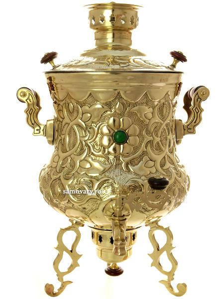 Угольный латунный самовар 8 литров ваза, украшенный камнями, арт. 430543 Тула