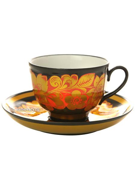 Чайная пара с художественной росписью Хохлома.Кудрина с краснымКерамическая чашка и блюдце.&#13;<br>Объем - 250 мл.<br>