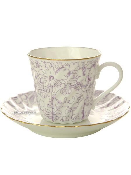 Кофейная чашка с блюдцем форма Витая, рисунок Садик, Императорский фарфоровый заводФарфоровая кофейная пара.<br>Объем чашки - 155 мл.<br>