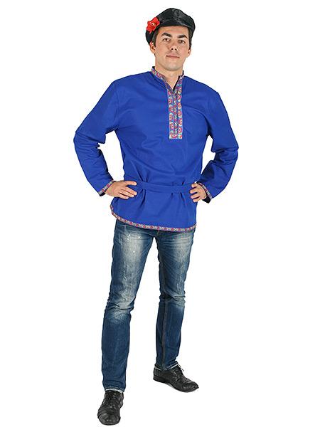 Косоворотка мужская льняная синяя, XS-XXL