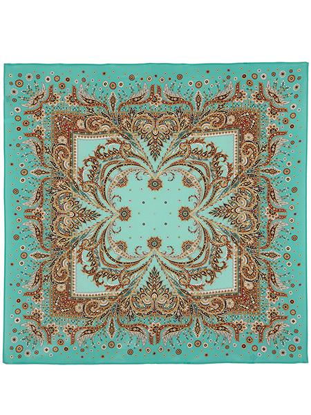Шелковый Павлопосадский платок Коралловый бриз 89*89 см, арт. 1603-11Платок шелковый (крепдешин).&#13;<br>Размер 89х89 см.<br>