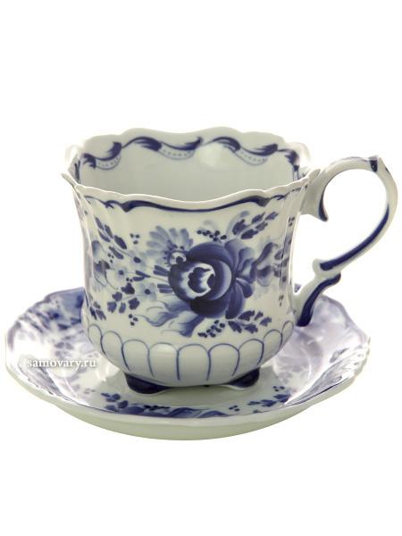 Чайная пара Гжель РетроЧайная пара керамическая с ручной художественной росписью.<br>Объем - 200 мл.<br>