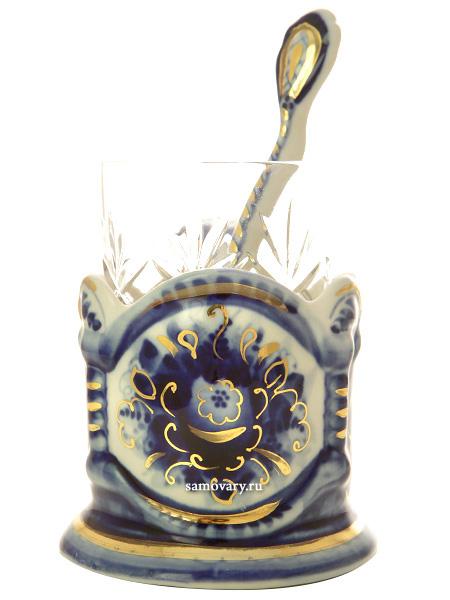 Набор с подстаканником Гжель с золотом, арт.12Комплект из подстаканника, ложки,хрустального стакана.&#13;<br>Подписан автором.<br>