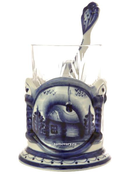 Набор с подстаканником Гжель зимняя, арт. 14Комплект из подстаканника, ложки,хрустального стакана.&#13;<br>Подписан автором.<br>