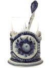 Набор с подстаканником Гжель, арт.13Комплект из подстаканника, ложки,хрустального стакана.&#13;<br>Подписан автором.<br>