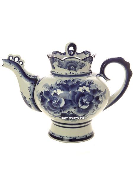 """Чайник заварочный керамический Гжель """"Подарочный"""" доливной"""