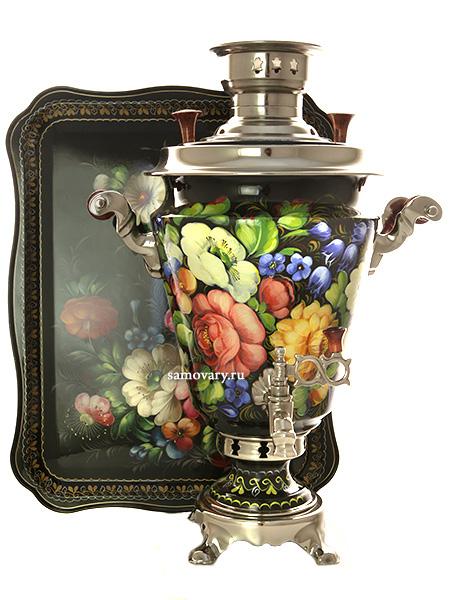 Угольный самовар 5 литров с художественной росписью Цветы на черном с подносом , арт. 261228Набор с термостойкой художественной росписью: угольный самовар, жостовский поднос.&#13;<br>Труба для отвода дыма в комплекте.<br>