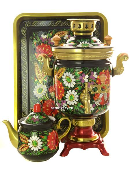 Набор самовар электрический 3 литра с художественной росписью Маки ромашки на черном, арт. 144549Самовары электрические<br>Комплект из трех предметов: латунный самовар, металлический поднос и заварочный чайник.<br>