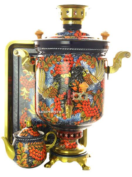 Комбинированный самовар 7 литров с художественной росписью  Хохлома на синем мелкая в наборе с подносом и чайником, арт. 320560Набор: самовар комбинированный с красочной художественной росписью, поднос металлический и заварочный чайник керамический.&#13;<br>Труба для отвода дыма в комплекте.<br>