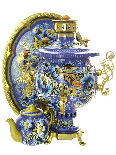 Комбинированный самовар 4,5 литра с художественной росписью Кружево в наборе с подносом и чайником, арт. 300016Набор из самовара, подноса и заварочного чайника.&#13;<br>Труба для отвода дыма в комплекте.<br>