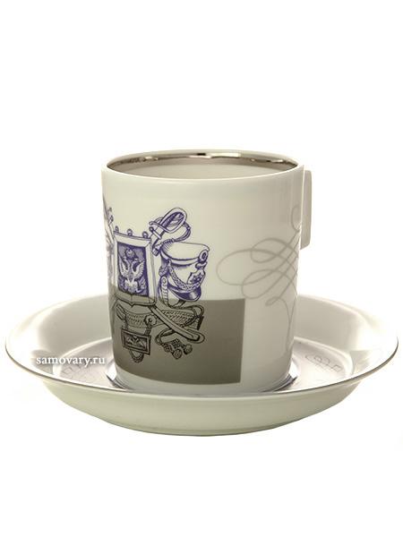 Сервиз чайный форма Гербовая рисунок Гусарский 6/14, Императорский фарфоровый заводСервиз чайный из 14 предметов: 6 чайных пар, чайник заварочный и сахарница.<br>