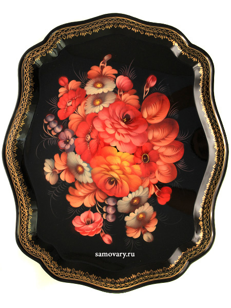Поднос Жостово Осенние цветы фигурный, арт. 2103Поднос с ручной росписью.&#13;<br>Размер 45*36 см.<br>