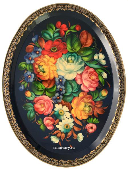 Поднос Жостово Цветы на синем фоне овальный, арт. 2088Поднос с ручной росписью.&#13;<br>Размер 39*30 см.<br>