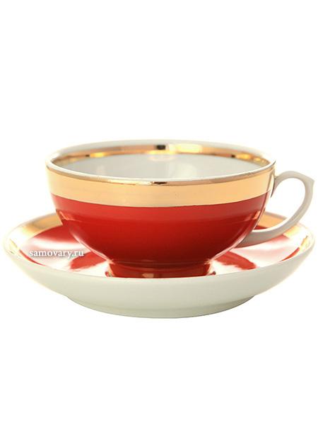 Фарфоровая чашка с блюдцем форма Рубин рисунок Рубин, Дулевский фарфоровый заводЧашка с блюдцем на 1 персону.&#13;<br>Объем - 220 мл.<br>