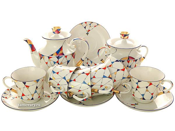 Сервиз чайный форма Банкетная, рисунок Калейдоскоп 6/14, Императорский фарфоровый заводСервиз чайный из 14 предметов: 6 чайных пар, чайник заварочный, сахарница.<br>