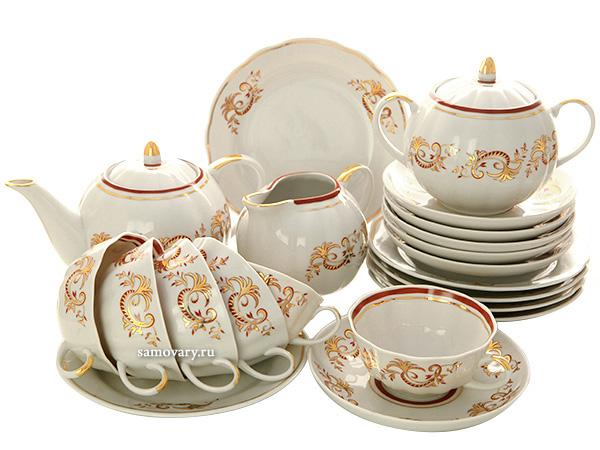Дулевский чайный сервиз форма Тюльпан рисунок Золотое кружево 6/21Сервиз из фарфора на 6 персон с десертными тарелками.<br>