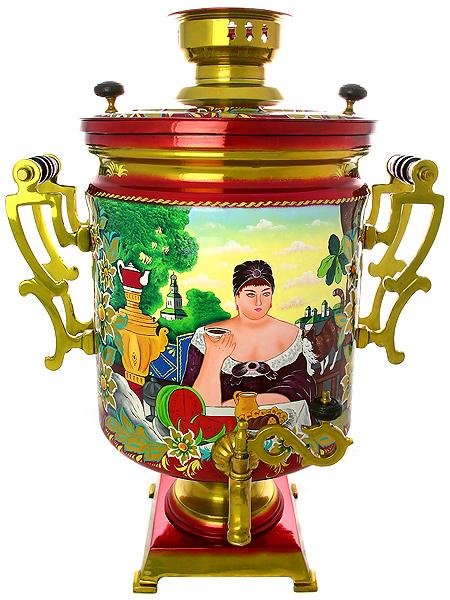 Электрический самовар 45 литров Буфетный с художественной  росписью Купчиха за чаем, арт. 145045Латунный буфетный самовар с художественной росписью.<br>