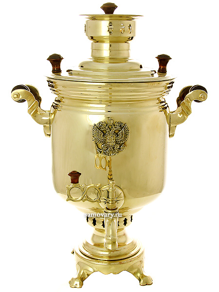 Угольный самовар 7 литров желтый цилиндр с накладным Гербом РФ, арт. 266849Тульский латунный самовар классической формы с накладным Гербом РФ.<br>Труба для отвода дыма в комплекте.<br>