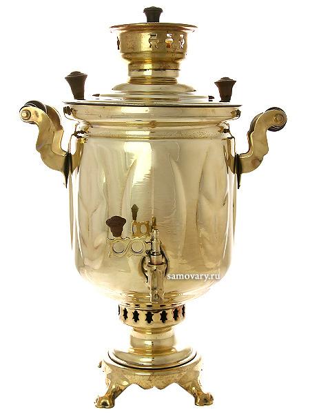 Угольный самовар 5 литров желтый цилиндр  Листья произведен в 1980-90 годах в Туле, арт. 420583Отреставрирован тульскими мастерами.&#13;<br>Готов к эксплуатации.<br>