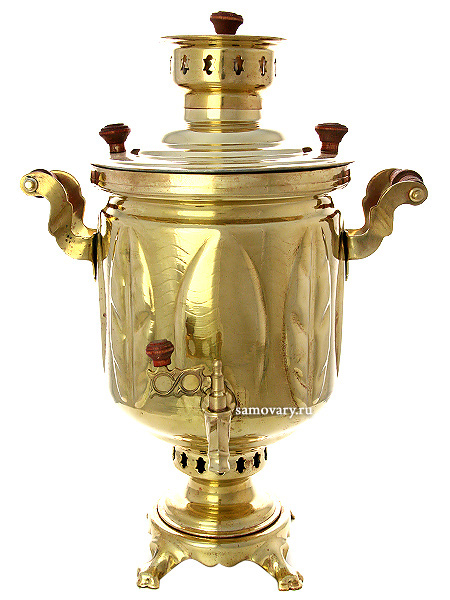 Комбинированный самовар 5 литров желтый цилиндр рифленый, арт. 310512Латунный самовар.&#13;<br>Труба для отвода дыма в комплекте.<br>