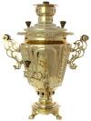 Комбинированный самовар 5 литров желтый конус рифленый, арт. 310716Латунный самовар.&#13;<br>Труба для отвода дыма в комплекте.<br>