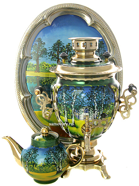 Набор самовар электрический 3 литра с художественной росписью Ясная поляна, арт. 150417Самовары электрические<br>Комплект из трех предметов:латунный самовар, металлический поднос и заварочный чайник.<br>