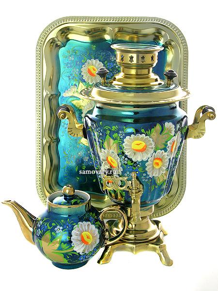 """Набор самовар электрический 3 литра с художественной росписью """"Ромашки на голубом фоне"""", арт. 121037 Тула"""
